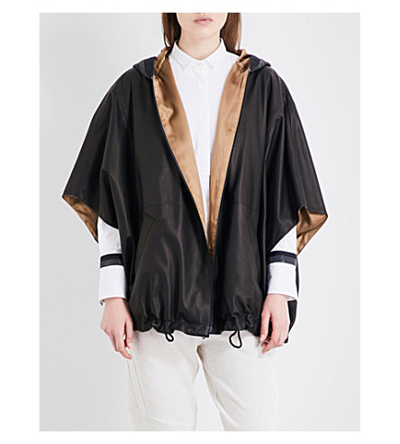 BRUNELLO CUCINELLI Chain-embellished leather cape (Black