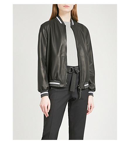 BRUNELLO CUCINELLI Reversible leather bomber jacket (Black