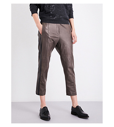 BRUNELLO CUCINELLI Straight cropped leather track pants (Mud