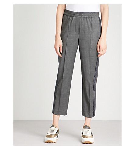 BRUNELLO CUCINELLI Side-stripe cropped virgin-wool jogging bottoms (Dark+grey