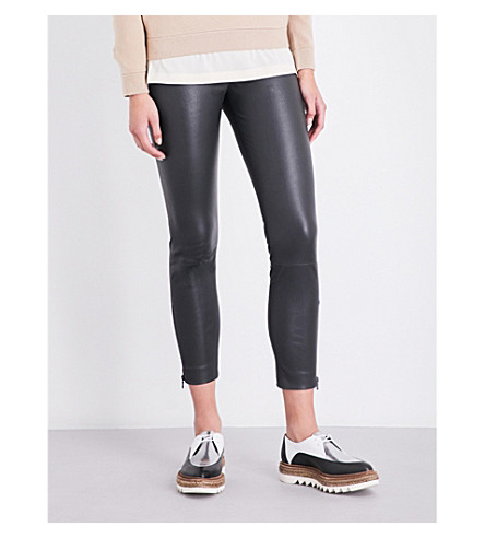 BRUNELLO CUCINELLI Cropped leather leggings (Charcoal