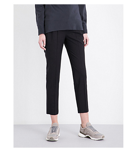 BRUNELLO CUCINELLI Cropped stretch-wool trousers (Black