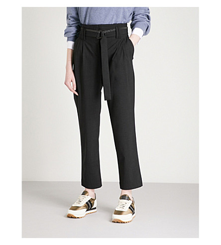 BRUNELLO CUCINELLI Bead-embellished belted tapered wool-blend trousers (Black+stone