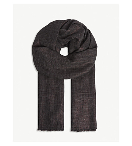 BRUNELLO CUCINELLI Metallic check cashmere-blend scarf (Bordeaux
