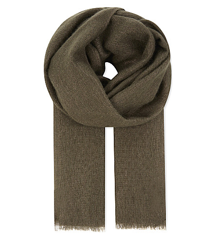 BRUNELLO CUCINELLI Silk-blend scarf (Military+green