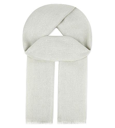 BRUNELLO CUCINELLI Cashmere lurex scarf (Grainy+white