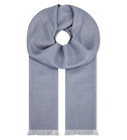 BRUNELLO CUCINELLI Cashmere and silk scarf (Periwinkle