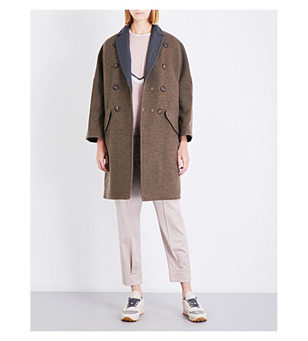 BRUNELLO CUCINELLI Reversible double-breasted cashmere and shell coat (Military+green