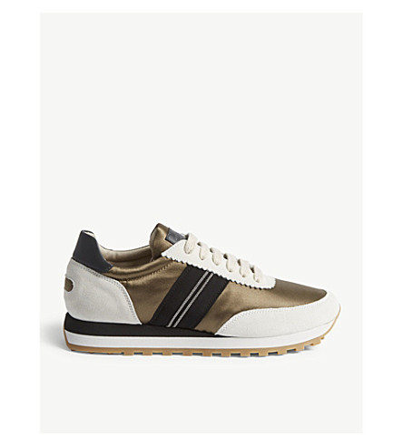 BRUNELLO CUCINELLI Suede panel trainers (Military+green