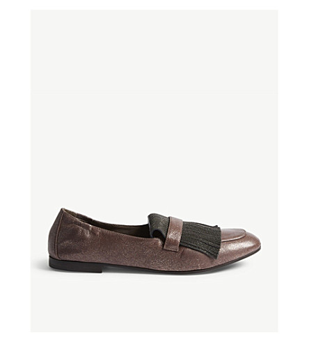 BRUNELLO CUCINELLI Glitter leather loafers (Purple