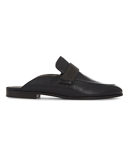 BRUNELLO CUCINELLI Monili textured leather mules (Black