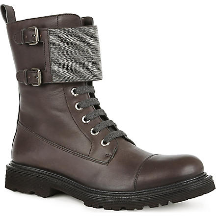 BRUNELLO CUCINELLI Monili leather lace-up biker boots (Black