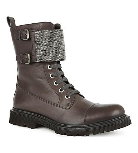BRUNELLO CUCINELLI Monili leather lace-up biker boots (Black