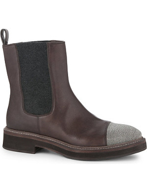 BRUNELLO CUCINELLI Beaded toe-cap leather biker boots
