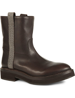 BRUNELLO CUCINELLI Monili beaded mid-calf leather biker boots