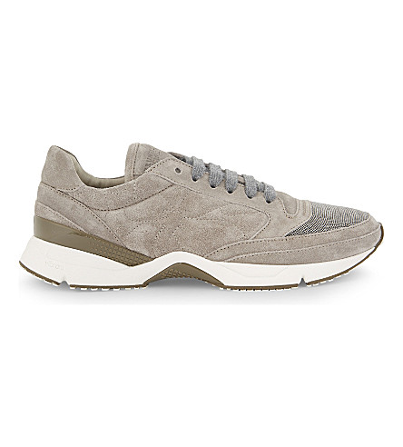 BRUNELLO CUCINELLI Monili suede runner trainers (Light+grey