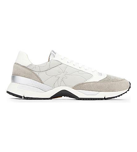BRUNELLO CUCINELLI Monilla suede runner trainers (Grey+white+laces