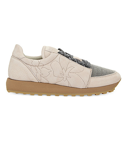 BRUNELLO CUCINELLI Monili suede runner trainers (Light+pink
