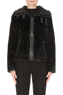 ARMANI JEANS Faux-fur zip-up jacket