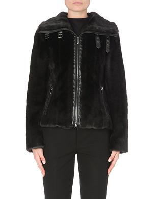 ARMANI JEANS Faux-fur zip-up jacket