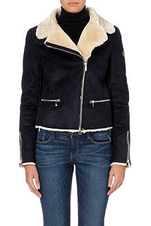 ARMANI JEANS Faux-sheepskin collar jacket