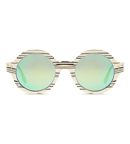 ILLESTEVA Fre42gm Frieda round-frame sunglasses (Crm marble w grn mirror