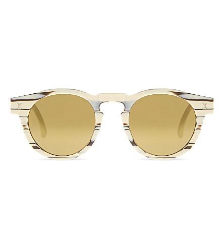 ILLESTEVA Le123 Leonard round-frame sunglasses (Crm+marble+w+gld+mirror