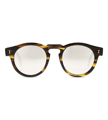 ILLESTEVA Le125sm Leonard round-frame sunglasses (Olve+strpe+w+slvr+mirror