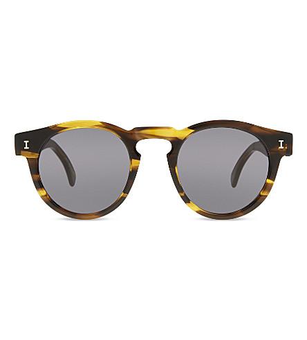 ILLESTEVA Le125 Leonard round-frame sunglasses (Olive+stripes