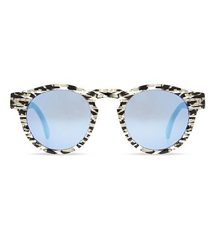 ILLESTEVA Le129 Leonard round-frame sunglasses (Shterd+strp+w+blu+mirr