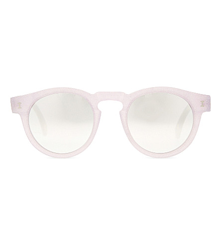ILLESTEVA Le131sm Leonard round-frame sunglasses (Pnk sprkle w slvr mirror