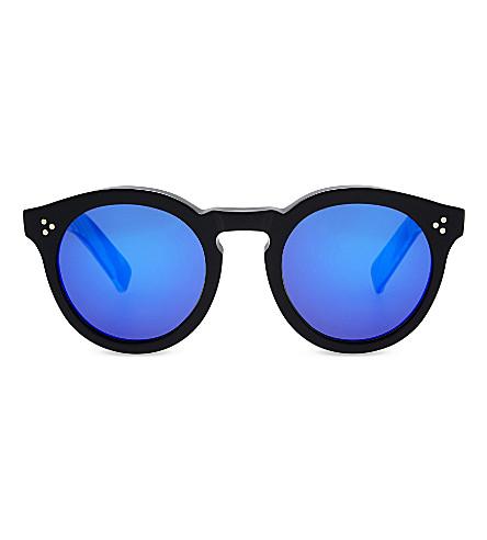 ILLESTEVA Leonard II round-frame sunglasses (Black/horn+with+v