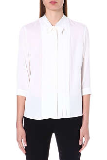 HUGO BOSS Bow-detailed stretch-silk shirt