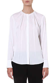 HUGO BOSS Pleated stretch-silk shirt