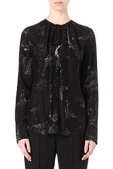 HUGO BOSS Banora shadow-print silk blouse