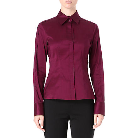 HUGO BOSS Classic cotton-blend shirt (Aubergine