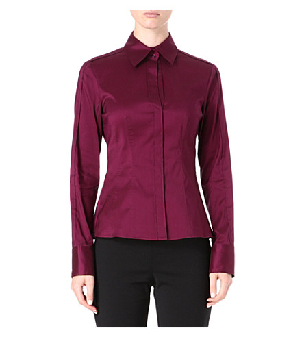 HUGO BOSS Bashina cotton-blend shirt (Aubergine