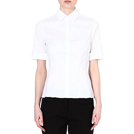 HUGO BOSS Bashini folded-sleeve shirt (White
