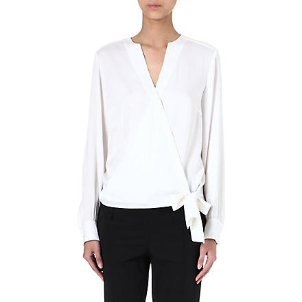 HUGO BOSS Tie-detail silk top (Cream