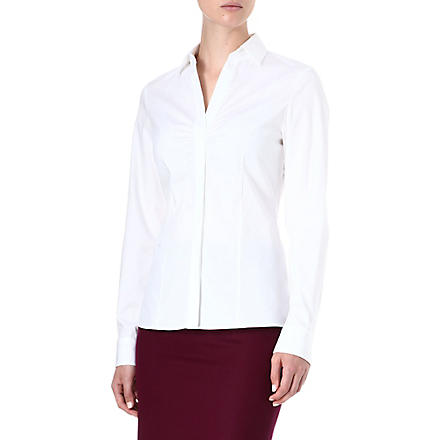 HUGO BOSS Ruched stretch-cotton shirt (White