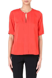 HUGO Buttoned silk-blend top