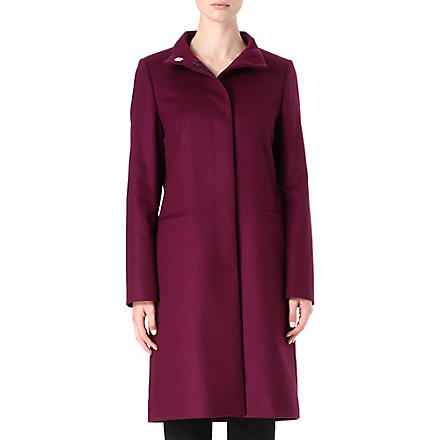 HUGO BOSS Funnel-neck wool and cashmere coat (Aubergine