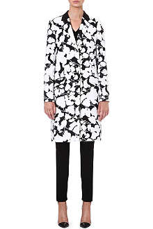 HUGO BOSS Floral-jacquard cotton-blend coat