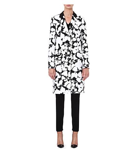 HUGO BOSS Floral-jacquard cotton-blend coat (Black/white