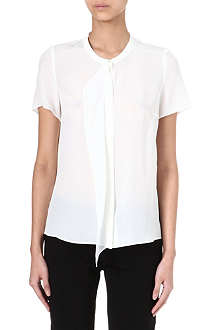 HUGO Ruffle front silk top
