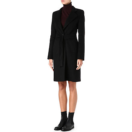 HUGO BOSS Wool wrap-around coat (Black