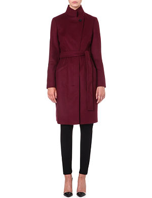 HUGO BOSS Wool and cashmere-blend wrap coat