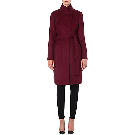 HUGO BOSS Wool and cashmere-blend wrap coat (Burgundy