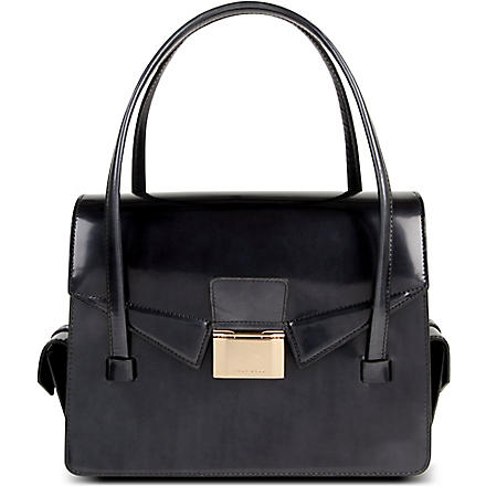 HUGO BOSS Leather shoulder front-clasp bag (Black
