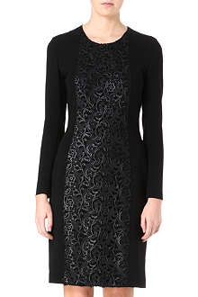 HUGO BOSS Lace panel stretch-crepe dress